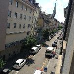  view of the street from my third floor  room - rear of hotel