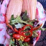 organic salad with red and white tamales