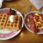  waffles, eggs and bacon