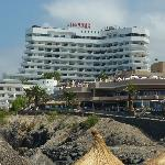Villamar from the sea (beige building is Iberostar Bouganville Playa)
