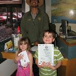 Receiving the Junior Ranger Certificate at the Visitors Center
