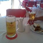 the best frosty pint and carrot cake in cala bona. Hoorah