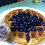 Blueberry waffle with sausage patty at Jimmy T&#39;s