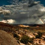 Rainbow at dusk over the Fiery Furnace
