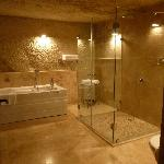 "Beautiful remodeled ""cave"" bathroom"