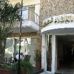 The entrace and the terrace of the Alkionis hotel