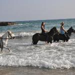 with the three great horses in sea