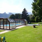 garden with heated swimming pool