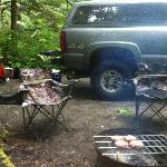  Enjoying the BBQ grill provided by the campground