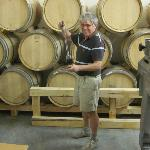 Bernard drawing a barrel sample at Chateau Juvenal's new winery