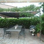 The outdoor dining area in the courtyard