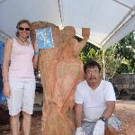 Me and the carver. He is doing a new sculpture here.
