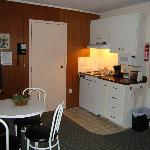 The kitchenette inside of the room