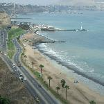 View of the beach from the cliff at Miraflores