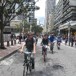  Riding bike along ciclovia on my bike tours with Bogotravel tours