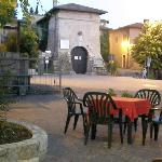 The courtyard for open-air meals, in front of the castle's entrance