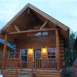 Two-story log cabin