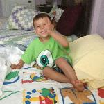 Our grandson on the bed they put in for him!