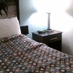 New bedding,  lamp with outlet