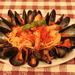Linguine with Seafood in a spicy red sauce!! YUMM