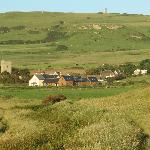 View of Chale Bay Farm and St Catherine's Oratory on the hill behind