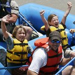Happy whitewater rafters
