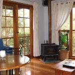 Cosy corner just needs you with a Hunter wine - Lilypond Cabin 1