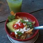 Mas Taco chicken tortilla soup and pineapple cilantro juice...YUM!
