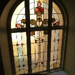 Stained glass window in staircase