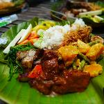 Lunch on a banana leaf plate