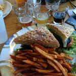  Grilled Portabella Sandwich with Sweet Potato Fries and a Sampler of Beers