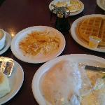 Waffle and Chicken Fried Steak.