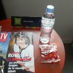 Free water, sweets and tv magazine.