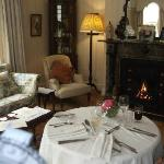 Our special anniversary table for two overlooking the garden with roaring fire Bliss