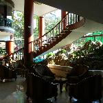 Foyer with Stairs up to sunny Breakfast area, love the breakfasts