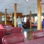 The indoor dining area is air conditioned.
