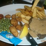 surf and turf with peppercorn sauce