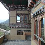 The decoration on the resort walls - typical of Bhutan
