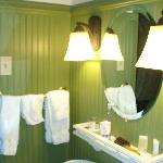  Loved the green breadboard panelling - lovely bathroom!