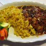 Jagerschnitzle (pork) with spatzle (swabian noodles) hunter style (E 12, 90)