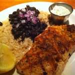 Grilled salmon, black beans and brown rice (dill sauce on side)