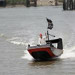 Billy Blackbeard getting ready to be hit by water cannons