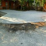 Mud hole in front new slab