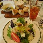 Salad and bread with dipping oil