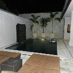 view from living area to pool