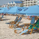 Beach view umbrellas & chairs available
