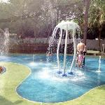 "recently completed splash pad on the ""Garden Side"""