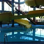 pool and water slide from inside lobby