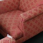  Sofas wih worn out fabric.