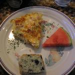 Ham and Potato Quiche, Blueberry/ lemon/poppyseed Bread and a slice of fresh Watermelon